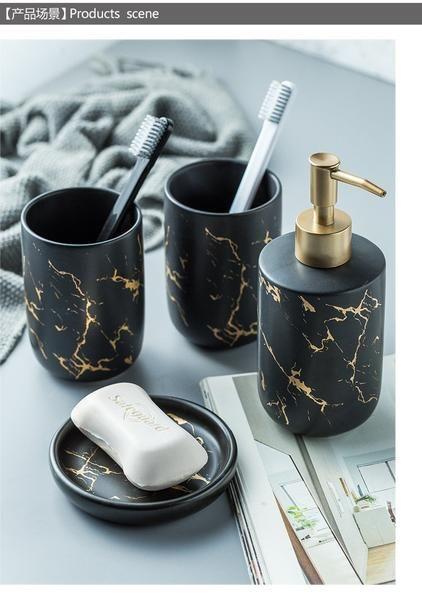 Ceramic Marble 4pc Soap Dispenser Set In 2020 Marble Bathroom Accessories Bathroom Accessories Sets Soap Dispenser