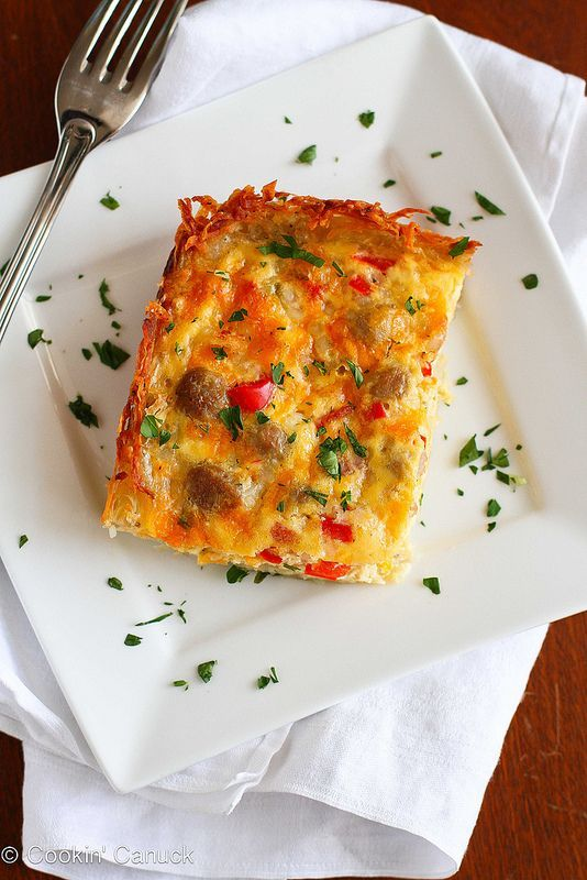Skinny Sausage & Egg Breakfast Casserole | cookincanuck.com #breakfast