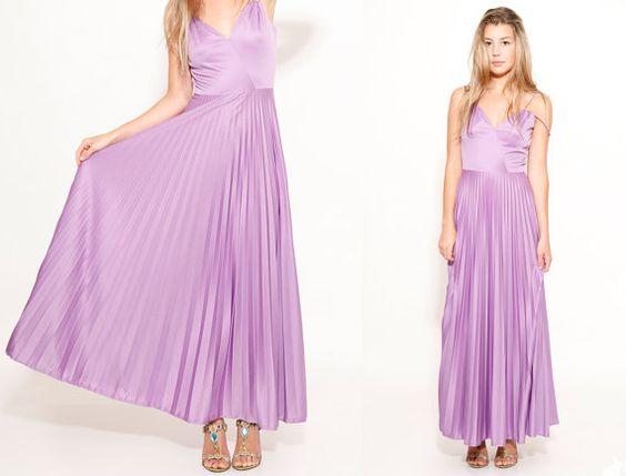 70s Lavender Boho Maxi Dress Accordion Pleated Skirt by SHOPAT851, $68.00