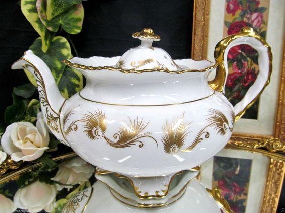 Aynsley Large Teapot Gold Gilt Scroll Work Raised Embossing | eBay