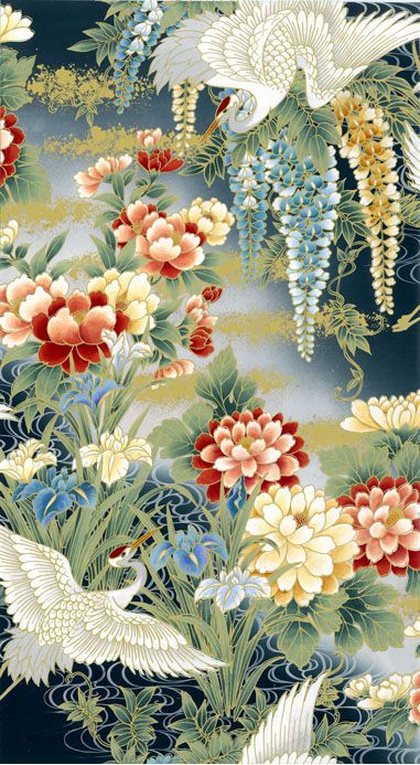 Chinoiserie - Kona Bay Flowers similar to my 1st wingback. #patterns #textures #JS