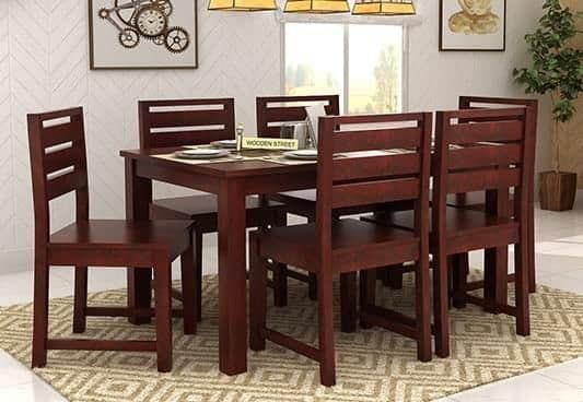 Steve Compact 6 Seater Dining Set Mahogany Finish Buy Dining Table Round Living Room Table 6 Seater Dining Table