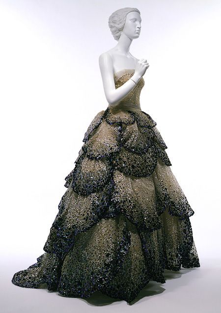 """Junon"" dress, fall/winter 1949–50  Christian Dior Haute Couture - Pale-blue silk net embroidered with iridescent blue, green, and rust sequins"