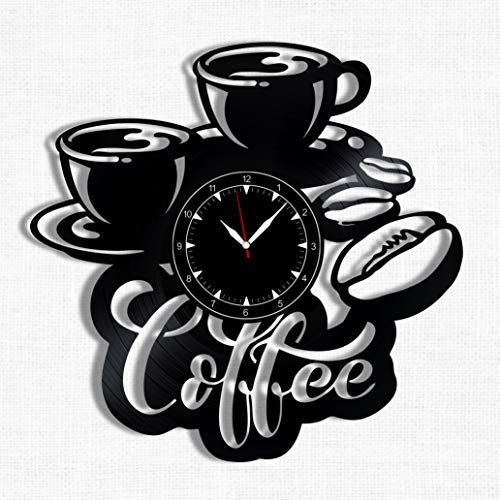 Coffee Vinyl Record Clock Wall Clock Coffee Best Gift For Coffee Lover Original Wall Home Decor Vinyl Record Clock Handmade Wall Clocks Wall Clock