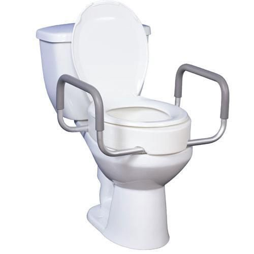 Premium Elongated Toilet Seat Riser With Removable Arms With