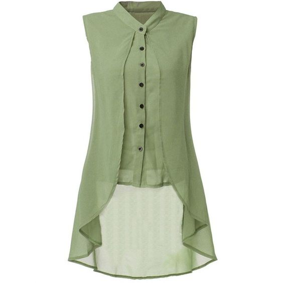 Women Sleeveless V Neck Button Pure Color Irregular Hem Chiffon Vest... ($13) ❤ liked on Polyvore featuring tops, blouses, green blouse, summer vest, sleeveless chiffon blouse, sleeveless blouse and v neck blouse