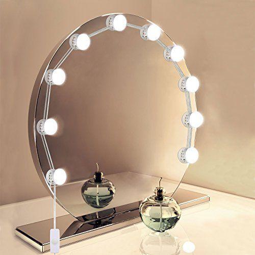 Lampe Pour Miroir Unifun Hollywood Kit De Lumieres De Miroir Usb Powered 10 Ampoule Led Eclairage De Maquillag Miroir De Table Miroir Lumineux Miroir Coiffeuse