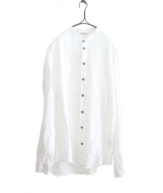 linit ロシアンリネンバンドカラーシャツ(WHITE) - FLORAISON