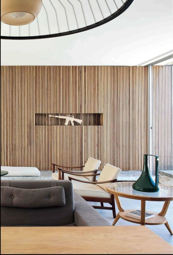 Living Room Feature Wall Design: Mid Century Modern Living Room From AD France
