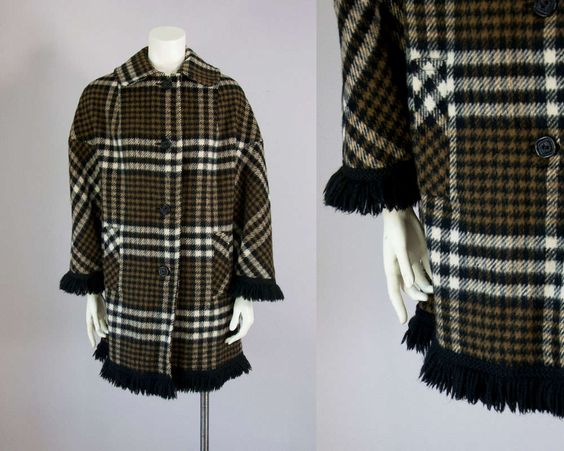 60s Vintage Olive Plaid Wool Fringe Coat. Winter Jacket (S, M) by vintageonlythebest on Etsy