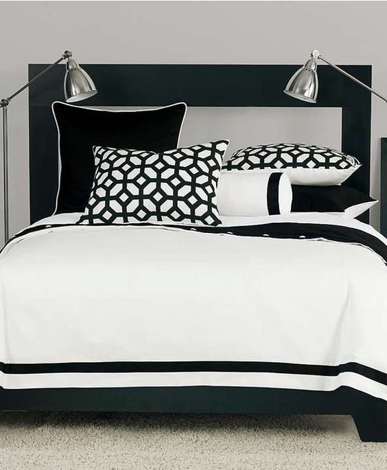 With a modern yet versatile style, this collection brings a burst of pattern to the simple white bedding with its thick black border.