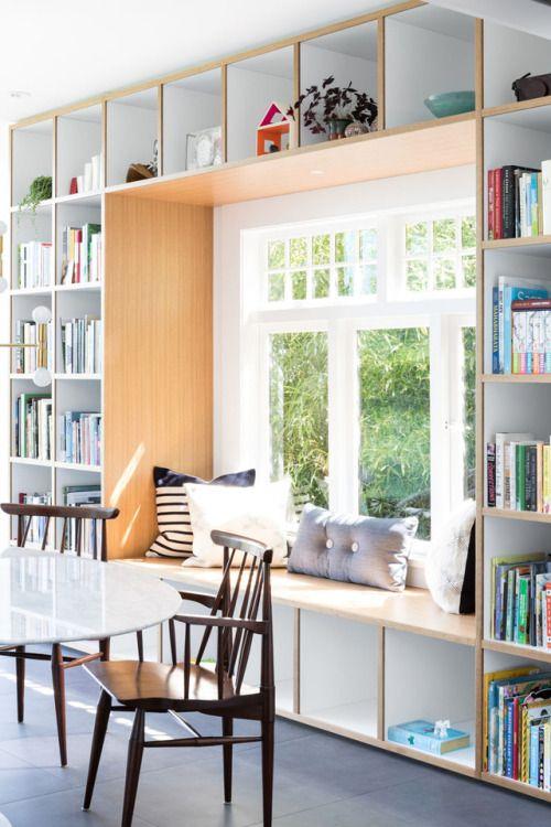 Built In Window Bench Withing Bookshelves Remodelproj