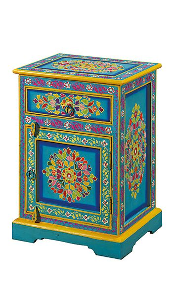 Handpainted indian bedside cabinet quartos pinterest for Muebles hindu