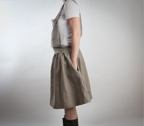 gray linen overalls dress or skirt with big pocket by LeBlusine, $106.00