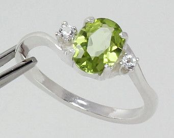 Sterling Silver Peridot Ring Sapphire Accents August Birthstone FREE RE-SIZING