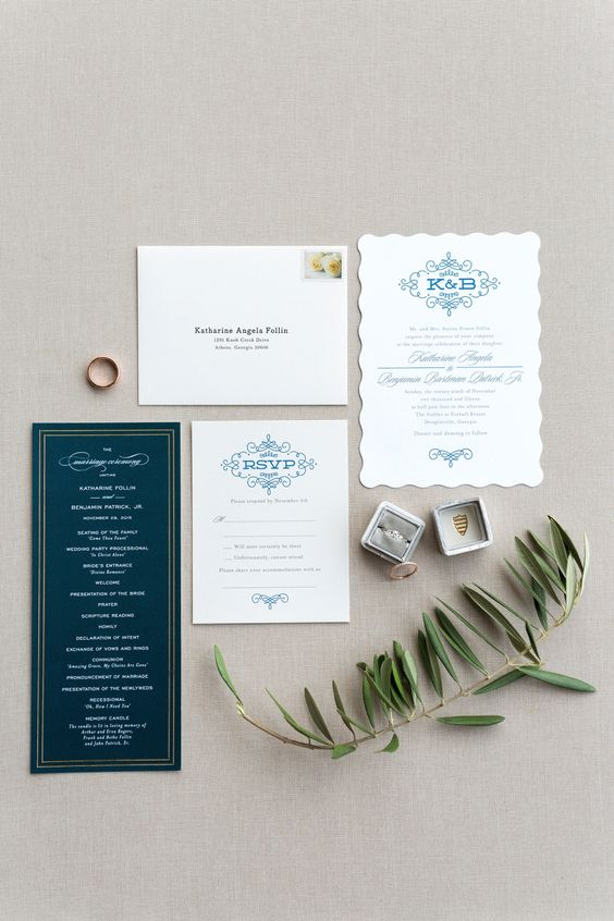 Chic, Elegant Navy and White Invitations | Rustic White Photography