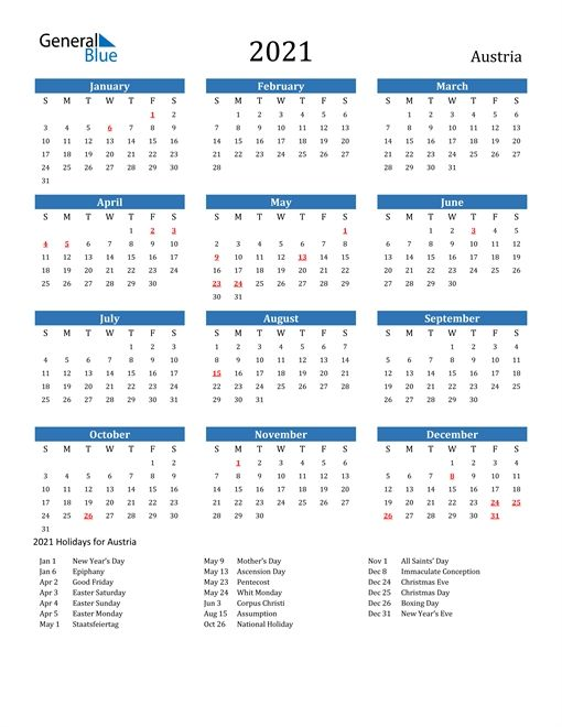 Calendar 2021 Austria Holidays In 2020 Calendar Printable Calendar 2021 Calendar