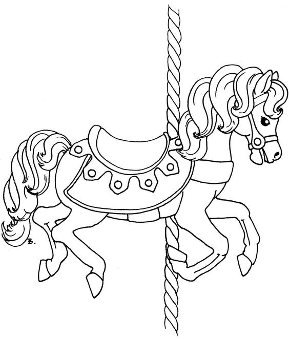 Carasel coloring pages ~ Beccy's Place: Carousel Horse With Rug   Digi Stamps ...