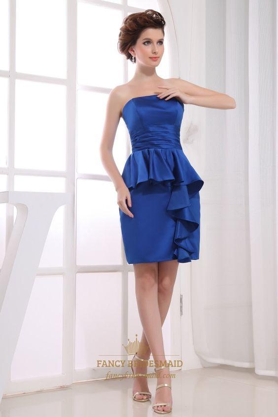Short Strapless Satin Peplum Dress,Royal Blue Strapless Cocktail ...