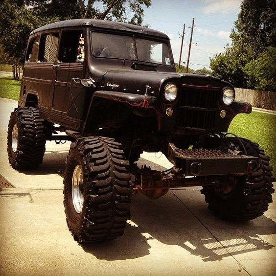 Lifted Willys Wagon Black Red Pin Striping Off Road Tires