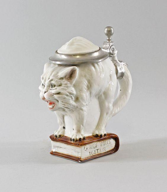 Porzellan Ernst Bohne Thüringen Bierkrug Humpen Katze 0,25l 9941772 in Antiquitäten & Kunst, Porzellan & Keramik, Porzellan   eBay