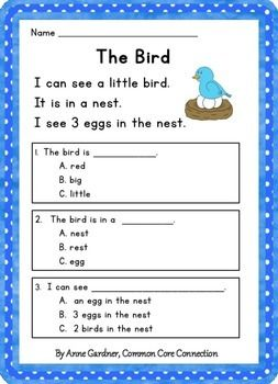 Free Reading Comprehension Passages with Text-Based Questions.  Designed to help kids develop comprehension skills early in the process of learning to read.