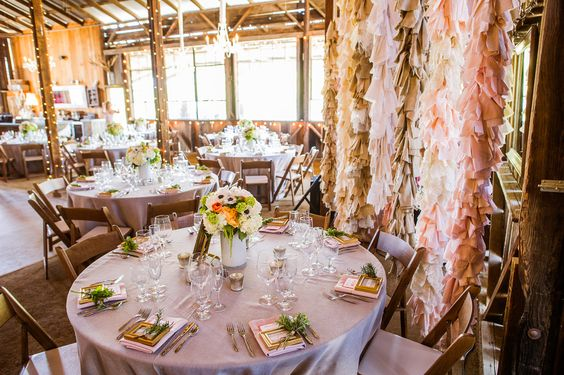 Wedding garlands in context...flowers, table linens...isn't a lovely ambience an uplifting thing?