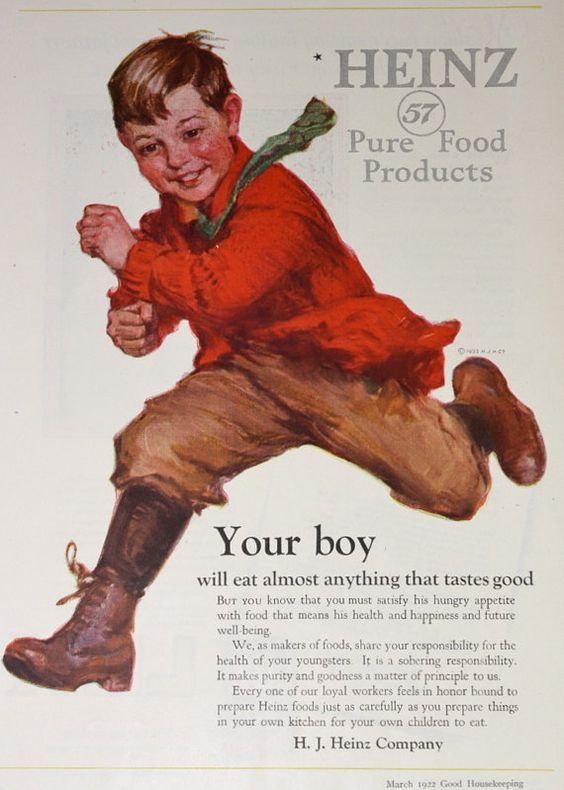 Vintage Ad Advertising / Ketchup Ad / Heinz Boy / 1920's Good ...