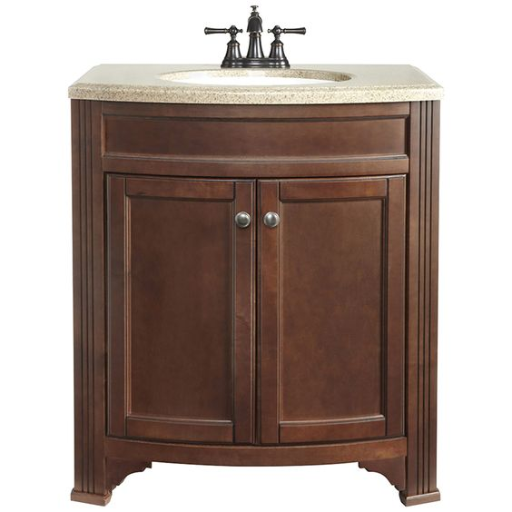 Shop Style Selections Delyse Auburn Integral Single Sink Bathroom Vanity  with Solid Surface Top (Common