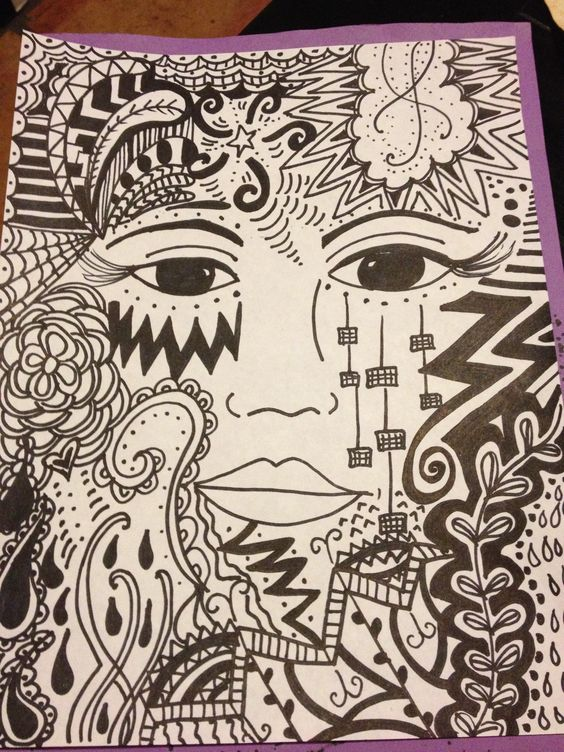 a zentangle face drawing I made for my class