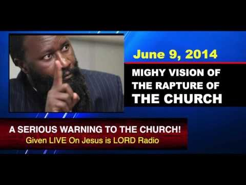 """June 9, 2014 VISION OF THE RAPTURE - Prophet Dr. Owuor. Video lasts16:10. (6/9/2014) saw (The Church is not ready for the Rapture, and MANY in the church of the Lord JESUS Christ do not go up in the Rapture, because they have not repented of ALL their sins and are thus not in a state of Holiness, and are not worthy in the Lord's eyes to see Heaven during the Rapture.)  """"Follow peace with all men, and holiness, without which no man shall see the Lord"""" -- Hebrews 12:14 KJV  (Christian CTS)"""