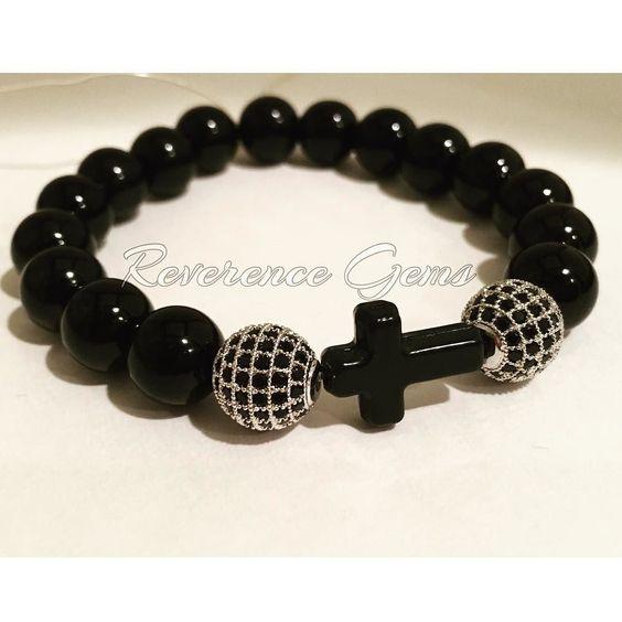Love using #micropave #beads they always add a touch of class to anything. Get this bracelet for $25. #blackonyxbracelet #affordablefashion #veteranbusiness #buyblack #religious #christ #cross #christianjewelry #ilovegod #armswag #wristwear #jewelrydesign #beadedbracelets #blackgirlsrock #blackentrepreneur #jewelrygram #jewelryshop #jota #ootd #esty #followforlikes #beadwork #beadedjewelry #braceletoftheday by reverence_gems