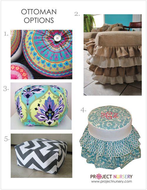 Use a fun ottoman in the nursery to add pattern or texture! #nurserydecor