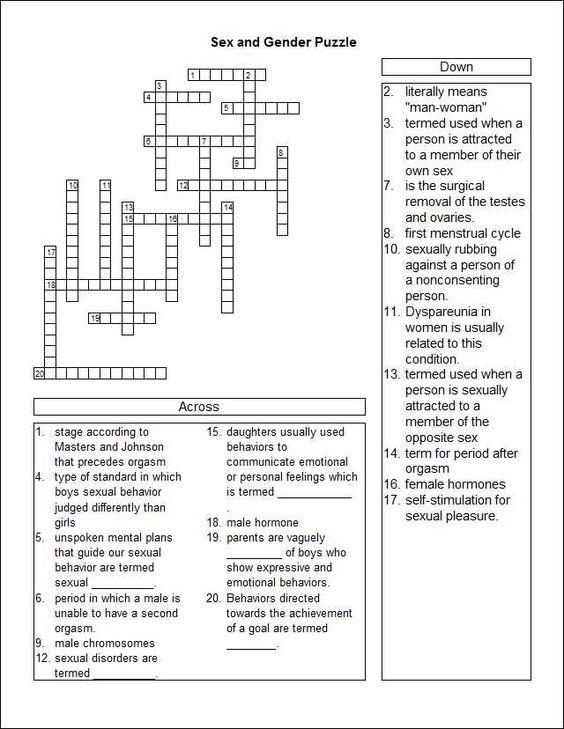 Sex Crossword Puzzle 63