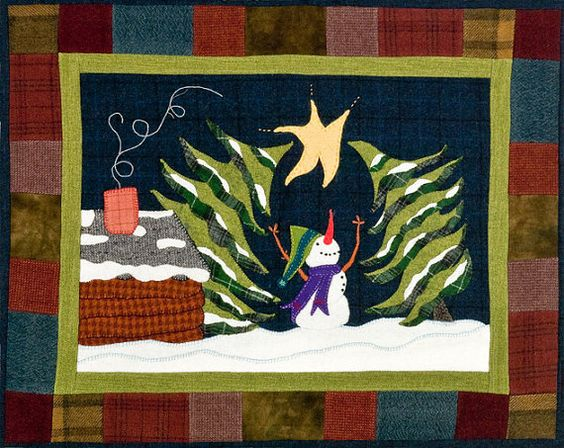 Star Light Snow Bright Wall Hanging Applique Quilt Pattern by Woolin Rouge