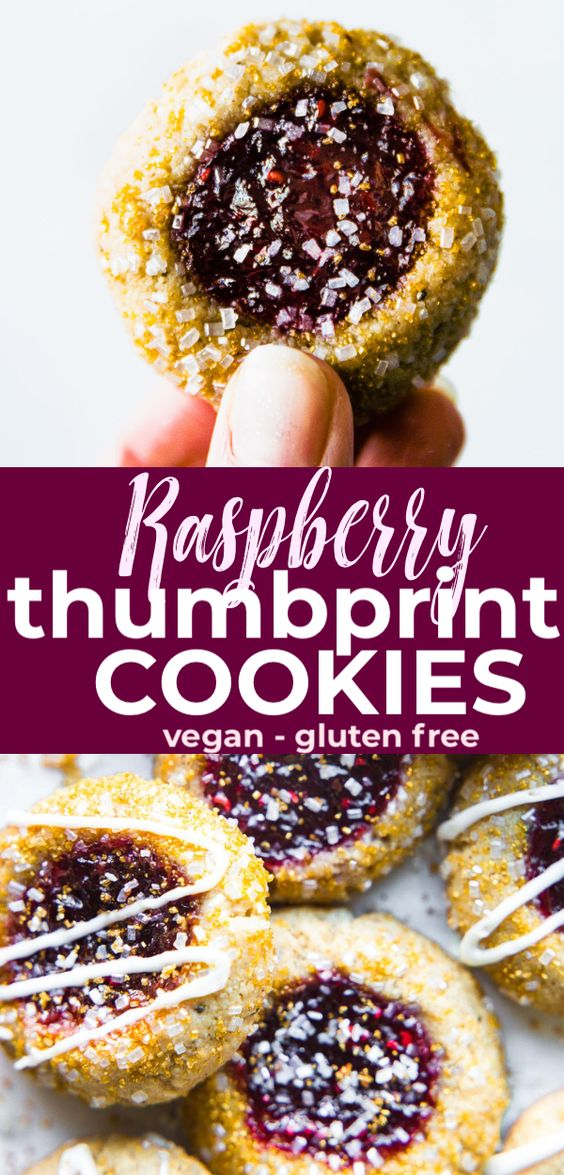 Gluten Free and Vegan Raspberry Thumbprint Cookies - these jam cookies are spiked with amaretto for a festive touch. Vegan Christmas cookies that are easy to make! #vegan #cookies #glutenfree
