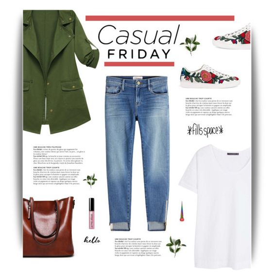 """""""Casual Friday"""" by cara-mia-mon-cher ❤ liked on Polyvore featuring Gucci, Violeta by Mango, Frame, Bobbi Brown Cosmetics and Christian Louboutin"""