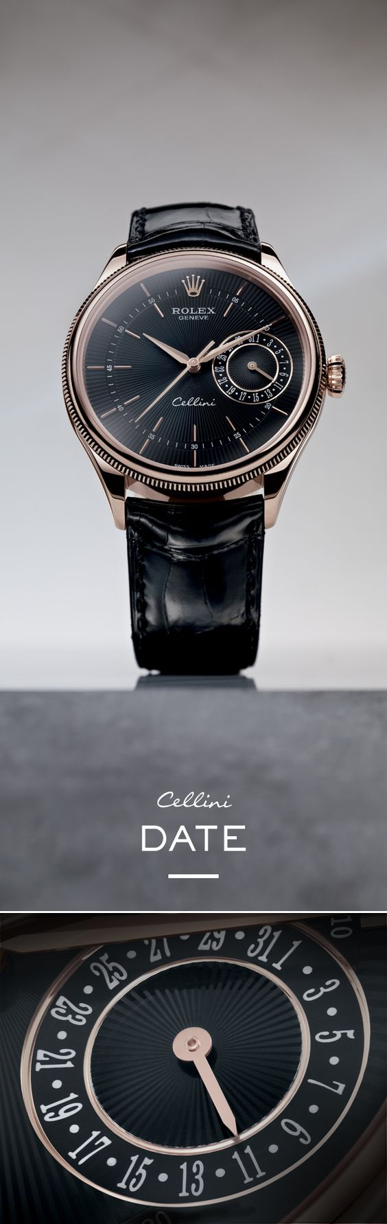 """The new Rolex Cellini Date 39 mm in Everose gold with a black dial featuring a """"rayon flammé de la gloire"""" guilloche motif and mounted on an alligator leather strap."""