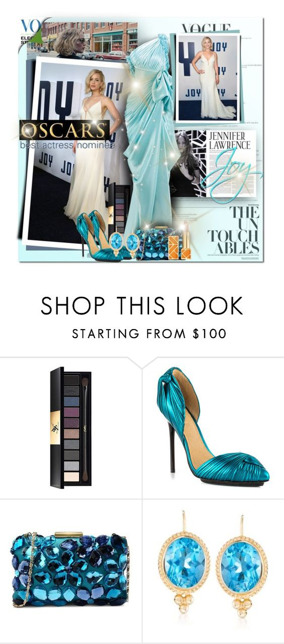 """Make some noise for Jennifer Lawrence: Best Actress Nominee for Joy!"" by sinesnsingularities ❤ liked on Polyvore featuring Nome, Yves Saint Laurent, L.A.M.B., Love Moschino, Ross-Simons, Tory Burch, jenniferlawrence, contestentry and oscarfashion"