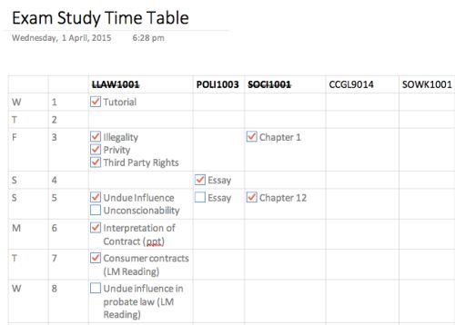 revision time table in onenote Study Resources Pinterest - revision timetable template