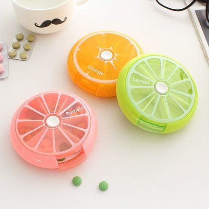 Amazon.com - Dandyd 7 Days Round Rotating Fruit Push-button Pill Vitamin Medicine Box Organizer Candy Box Earring Ring Box Dispense Portable Kit (Orange) -