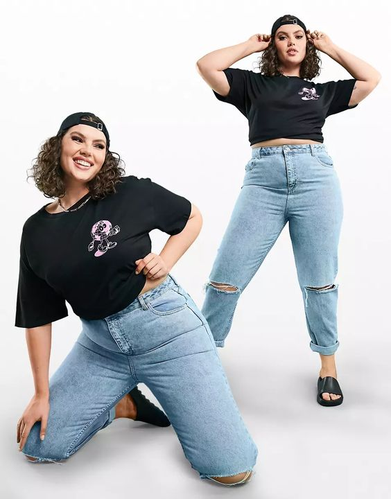 ASOS DESIGN Curve high rise 'original' mom jeans in lightwash with rips