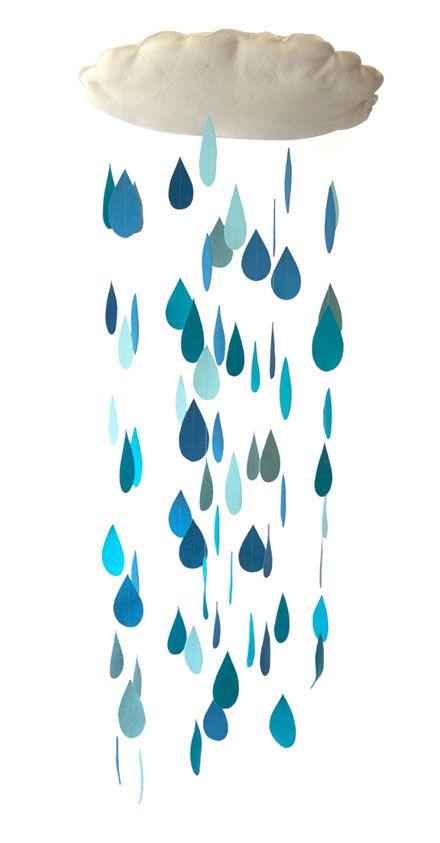 raindropmobile: Rain Mobile, Raindrop Mobile, Raincloud Mobile, Diy Raindrop, Rain Drop, Baby Shower