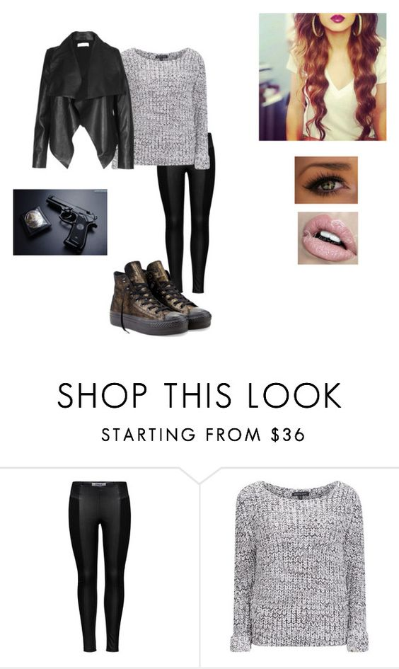 """Geen titel #106"" by littlemissbeautifulmadness ❤ liked on Polyvore featuring ONLY, Brave Soul, Converse and POLICE"