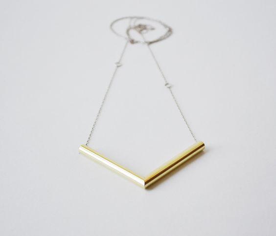 Brass angle necklace.