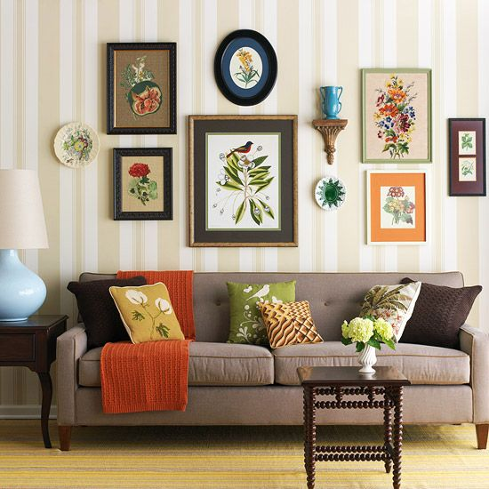 this wall display and pillow combination is a great example of the 'collected over time' look