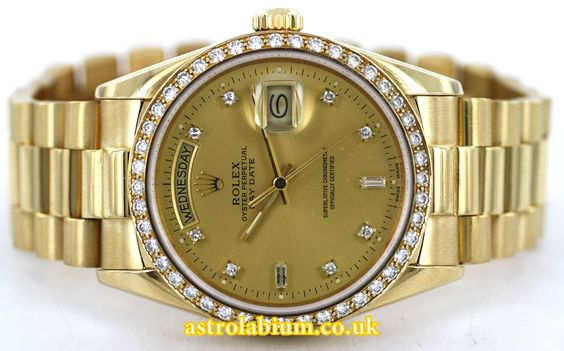 Rolex Day-Date 18K Yellow Gold 18348 Diamond Dial & Bezel