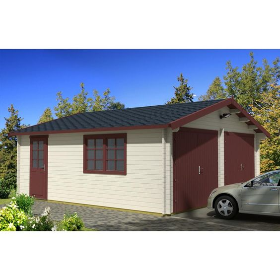 Hud 1 Ez Buildings Log Garage D2 19 5 Ft X 17 42 Ft X 10 Ft Wood Log Garage Kit Without Floor Garage D The Home Depot Prefab Garage Kits Garage Kits Gable Roof Design