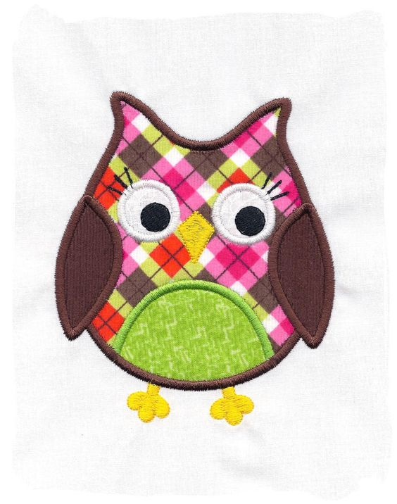 owl designs in machine embroidery | Owl Machine Embroidery Applique Design by pinkfrogcreations