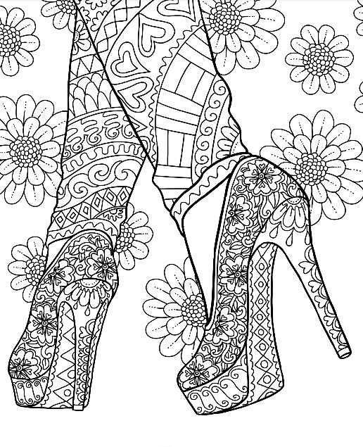 High Heel Shoes Stilettos Coloring Page On Colormattersapp With